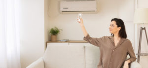 Woman Ductless AC Home Air Conditioning