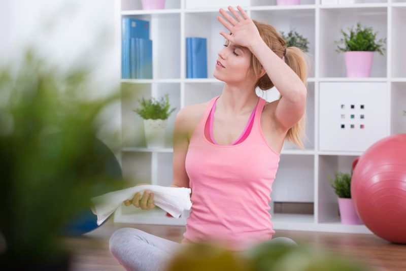 Woman Sweating Yoga