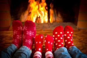 Family Socks Fireplace