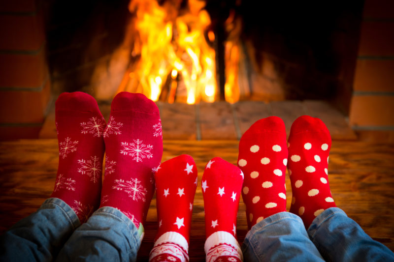 Family Socks Fireplace