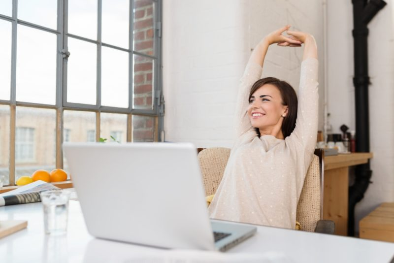 Woman Stretching Office