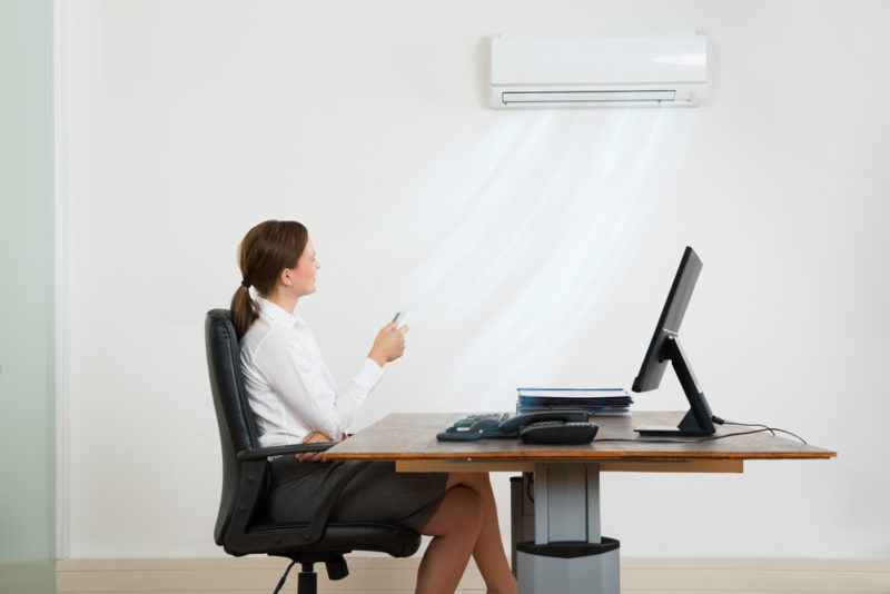 Woman Adjusting Ductless HVAC
